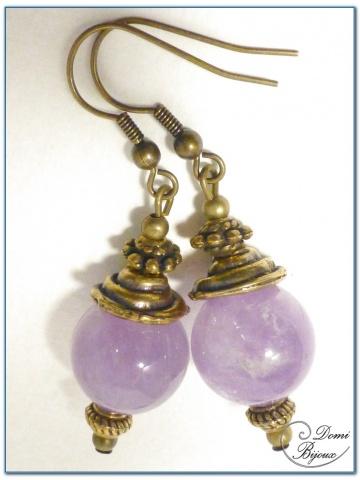 Boucle Oreille fantaisie Finition Bronze perles jade violet