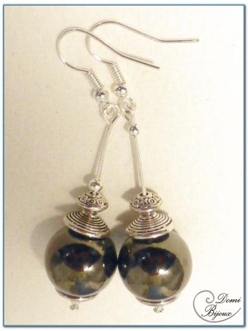 Boucle Oreille fantaisie argent perle metal anthracite 15mm