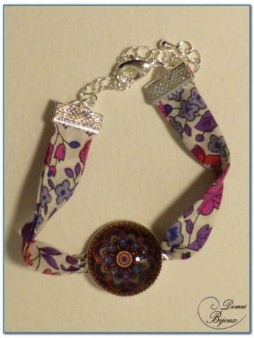 bracelet fantaisie cabochon finition argenté et tissu liberty-2
