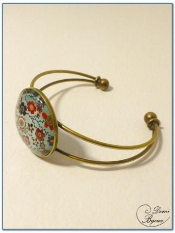 bracelet fantaisie cabochon monture rigide argentée-4