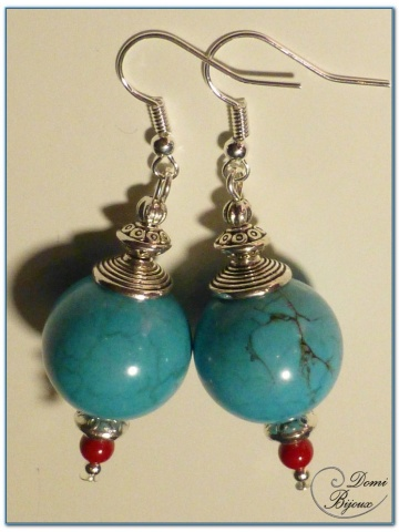 boucle d'oreille fantaisie finition argenté perles howlite turquoise 18 mm