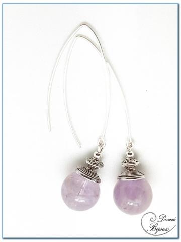 Boucle Oreille fantaisie argentée perles améthyste clair 14mm fermoirs longs