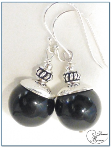 Silver Earrings Onyx Pearl