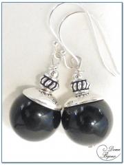 Boucles d'Oreilles Argent Perles Agate Noire
