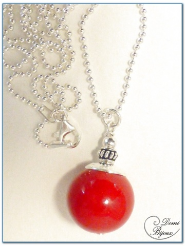 Collier Argent Perle Jade Rouge