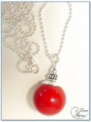 Silver Necklace Red Jade Pearl