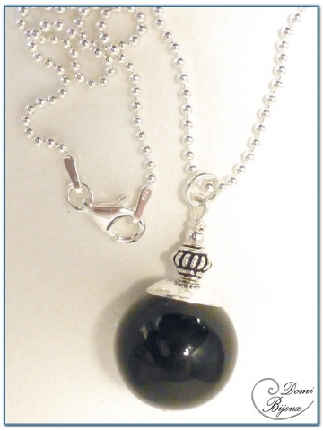 Silver Necklace Black Agate Pearl