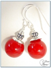 Silver Earrings Red JadePearl