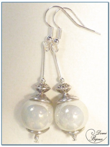 fashion earrings silver finish ceramic pearl 14mm pearly white
