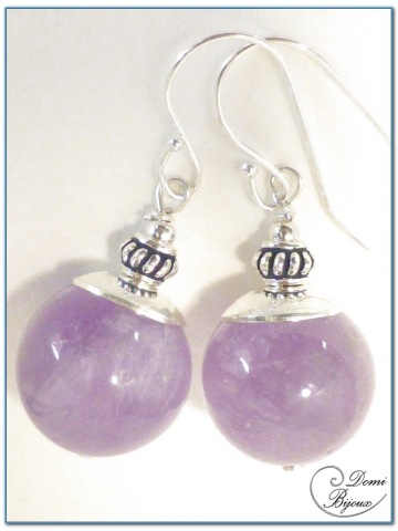 Silver Earrings Purple Jade Pearls