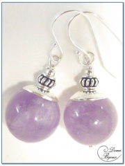 Boucle Oreille argent perle jade violet