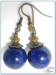 Boucle Oreille fantaisie bronze perle lapis