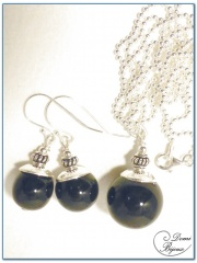 Silver Jewells Set Necklace Earrings Black Agate Pearls