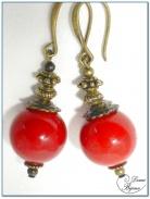 Boucle Oreille fantaisie bronze perle jade rouge 16mm