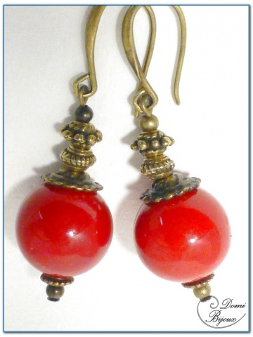 Fashion earrings bronze finition red jade pearls