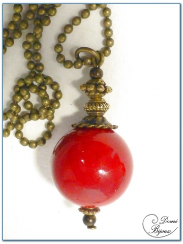 Fashion necklace bronze finition red jade pearl
