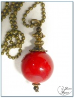 Collier fantaisie finition bronze perle jade rouge 18