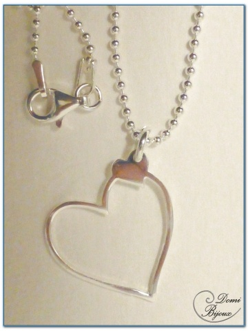 Silver Necklace Heart Pendant