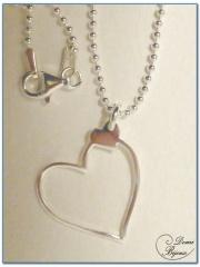 Silver Necklace Heart Pendant