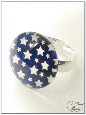 Fashion ring siver finish cabochon 2