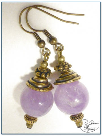 fashion Earrings Bronze Finition purple jade pearls