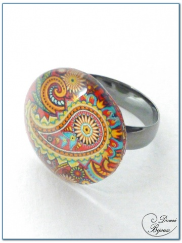 fashion ring slver finish cabochon 3