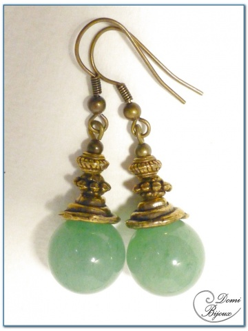 fashion earrings bronze finition with aventurine pearls 14mm