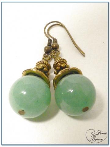 Boucle Oreille fantaisie Finition Bronze Perles aventurine 14mm