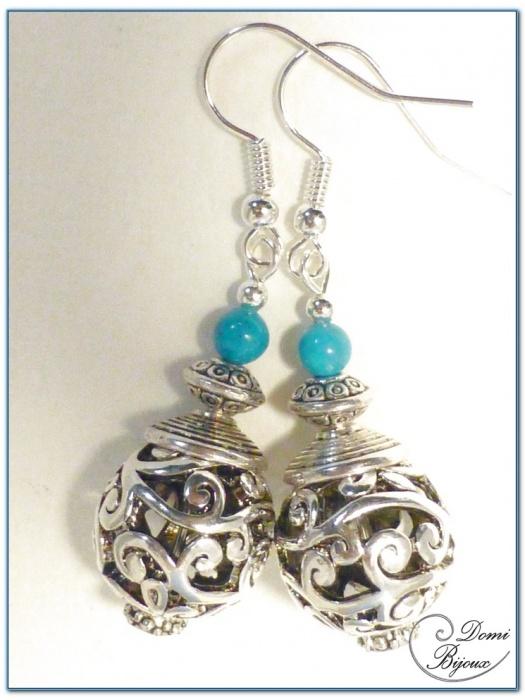 Boucles d'oreilles fantaisie argenté perle filigrane 15mm-1