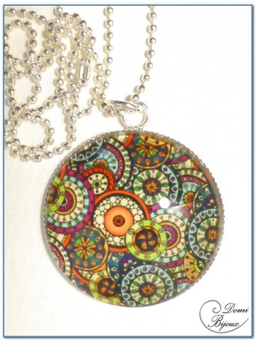 Fashion Necklace silver finition 30mm flowered cabochon