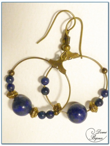 fashion Earrings hoop Bronze Finition lapis lazuli