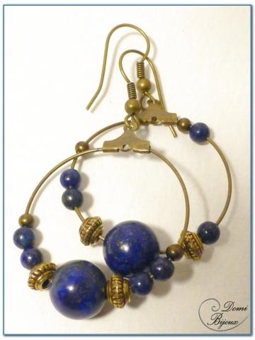 Boucles d'oreilles fantaisie finition bronze créoles lapis lazuli