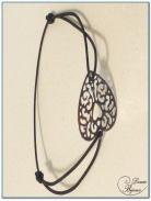 bracelet elastique fantaisie motif filigrane argenté -1