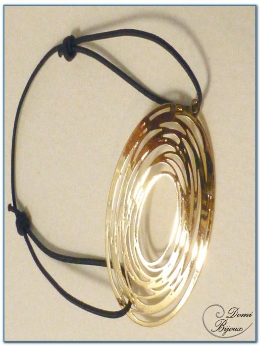 Bracelet fantaisie élastique motif filigrane finition doré-1