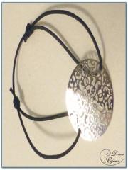 Bracelet fantaisie élastique motif filigrane finition argenté-3