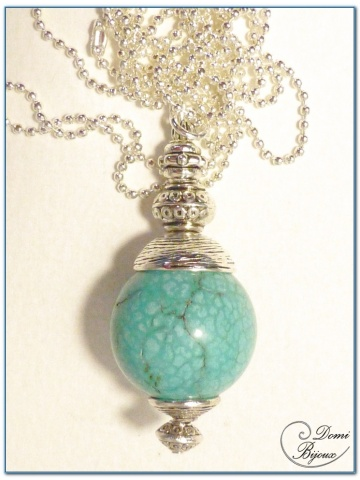 fashion necklace siver finish howlite turquoise pearl 20mm