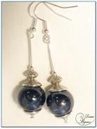 Boucle Oreille fantaisie argenté perle céramique noir 14mm