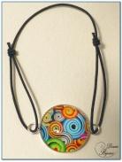 Bracelet fantaisie élastique finition argenté cabochon -1