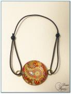 Bracelet fantaisie élastique finition argenté cabochon-2