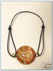 Fashion elastic bracelet silver finish cabochon-2