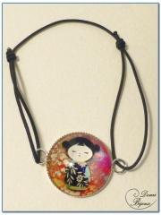 Fashion elastic bracelet silver finish cabochon-3