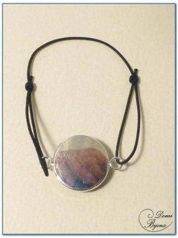 Bracelet fantaisie finition argenté élastique cabochon-3