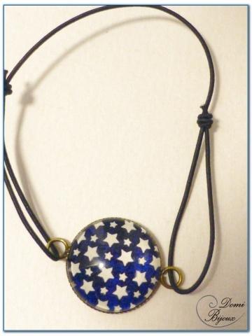Bracelet fantaisie élastique cabochon finition bronze 1