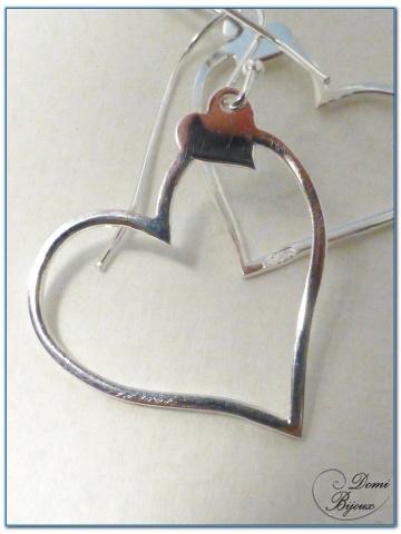 Boucle Oreille argent  motif coeur 20 mm