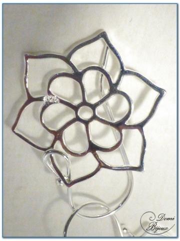 Boucles d'Oreilles Argent pendants fleur de lotus 20 mm