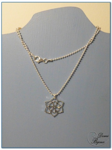Collier argent pendentif fleur de lotus 20 mm