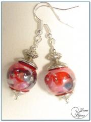 Boucle Oreille fantaisie argentée perles céramique fleur rouge 14mm