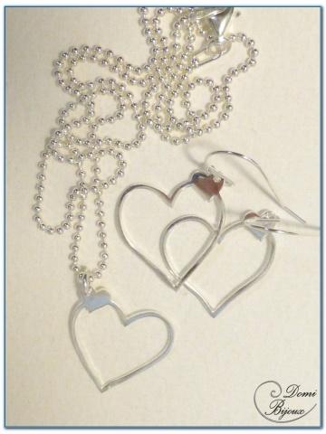 parure argent collier boucle d'oreille coeur 20 mm