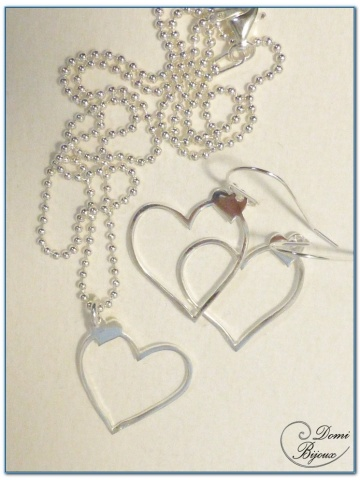 Silver jewels set earrings necklace heart 20mm