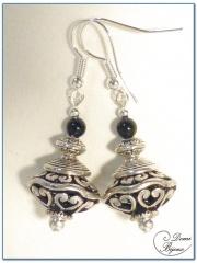 Boucle Oreille fantaisie argentée perle filigrane ovale 16mm et onyx